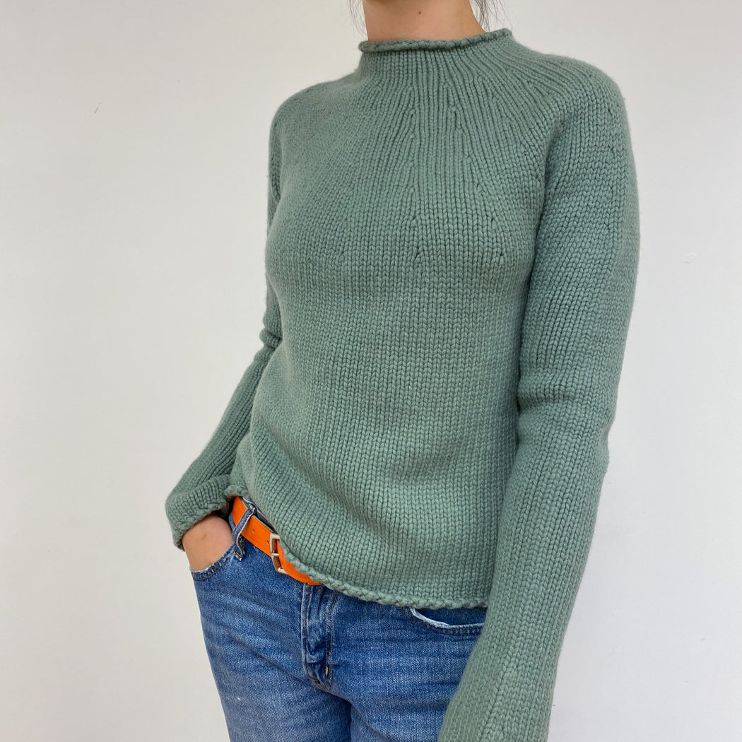 Dark Sage Green Crew Neck Jumper Small