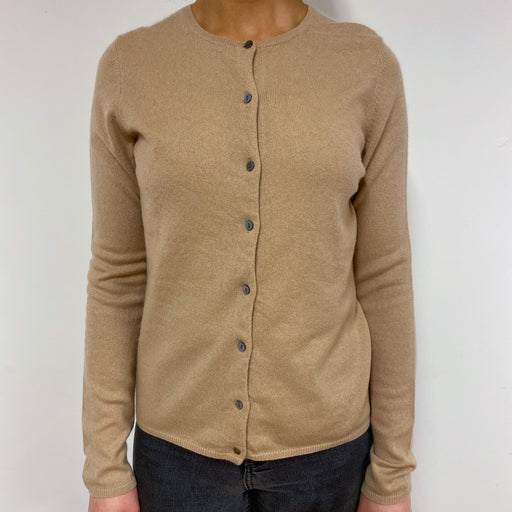 Camel Crew Neck Cardigan Small