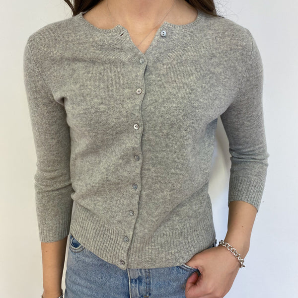Pale Grey Crew Neck Cardigan Extra Small