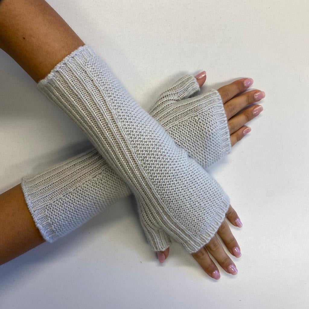 *New* Palest Grey Fingerless Recycled Cashmere Gloves