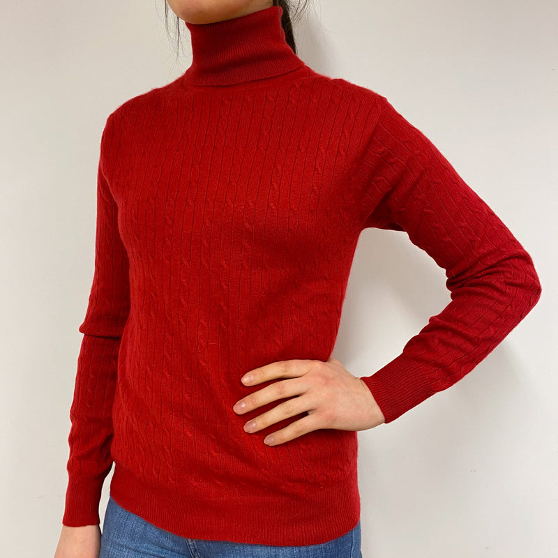 Postbox Red Cable Knit Polo Neck Jumper Small
