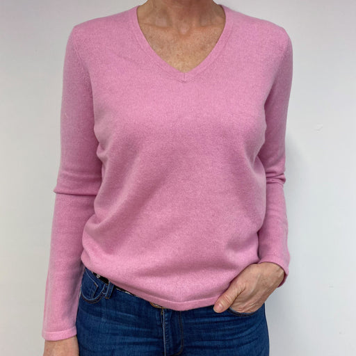 Candy Pink Heart Detailed V Neck Jumper Medium