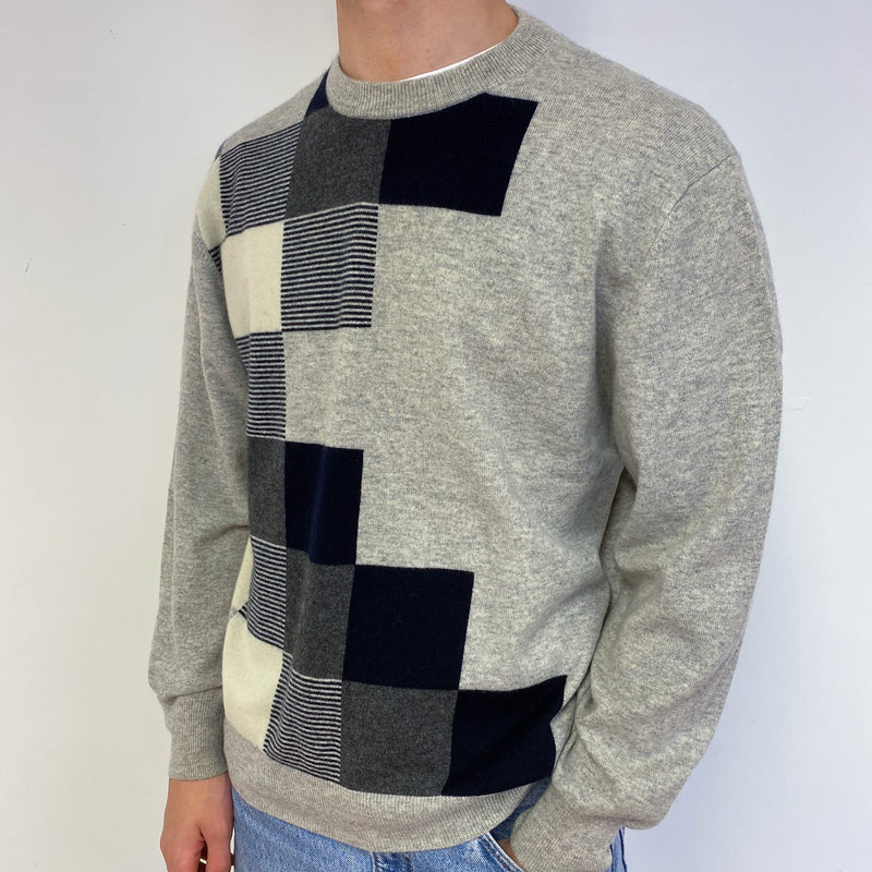 Men's Pale Grey and Navy Crew Neck Jumper Large