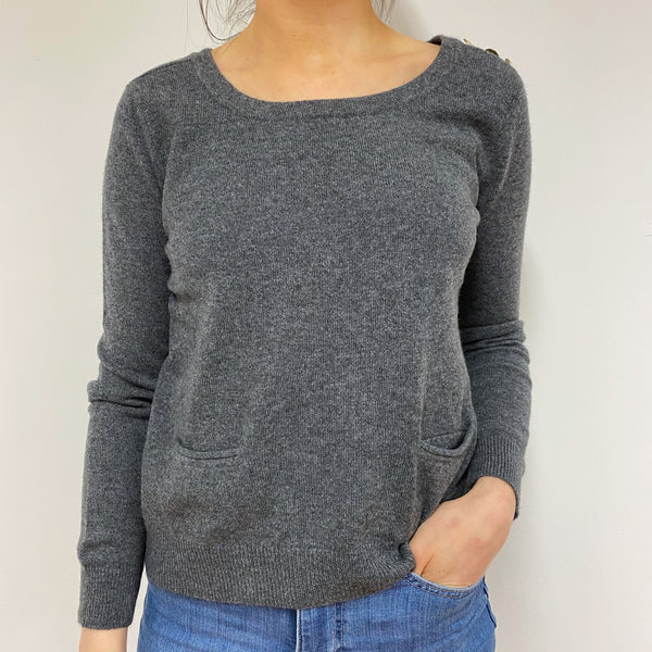Mid Grey Scoop Neck Jumper Small