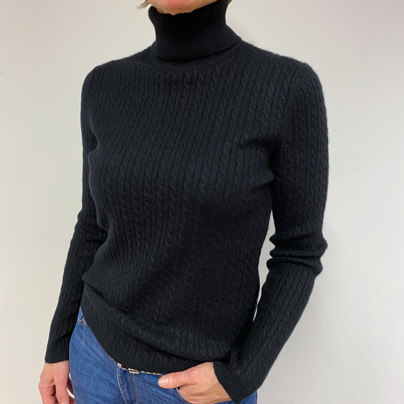 Black Cable Knit Polo Neck Jumper Medium