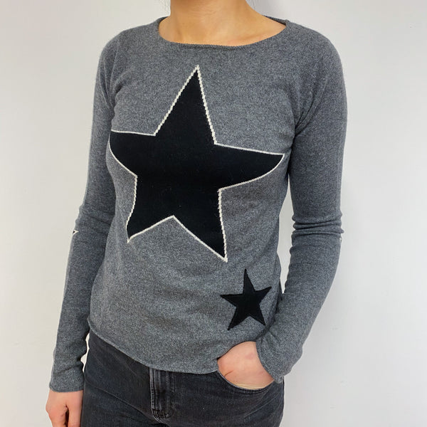 Dark Grey and Black Contrast Star Crew Neck Jumper Small