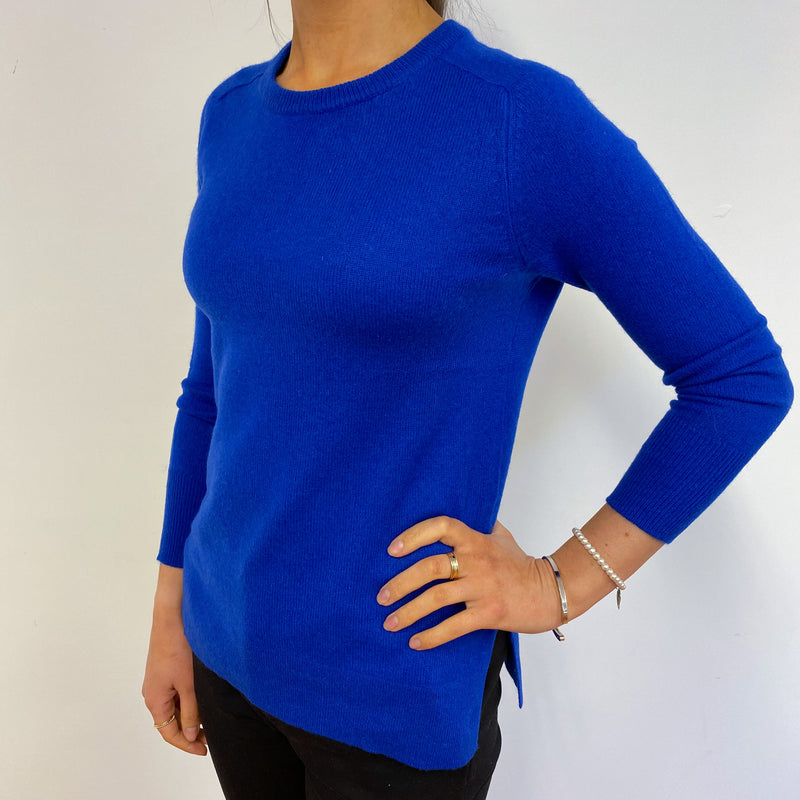 Cobalt Blue Tunic Style Crew Neck Jumper Small