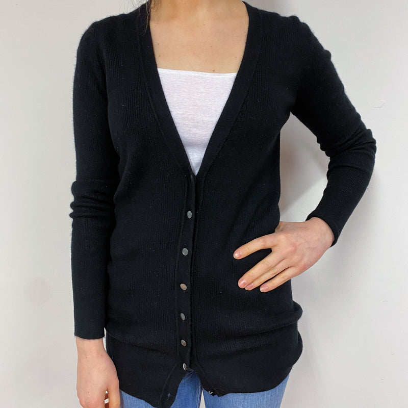 Black Ribbed Long V-Neck Cardigan Small