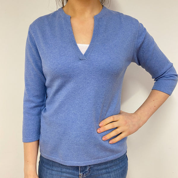 Sky Blue Notch Neck Jumper Small Petite