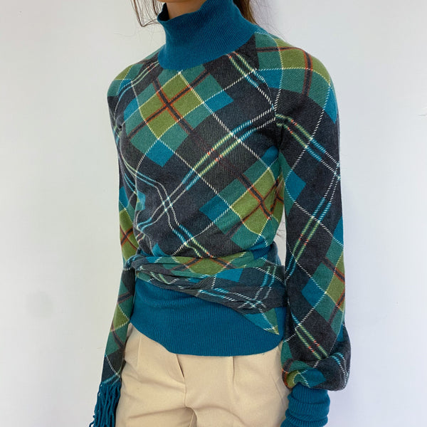 Tartan Green Turtle Neck Jumper Extra Small