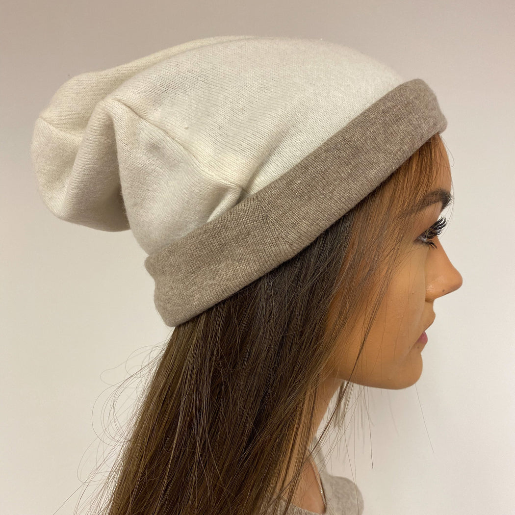 Reversible Ivory and Oatmeal Hat