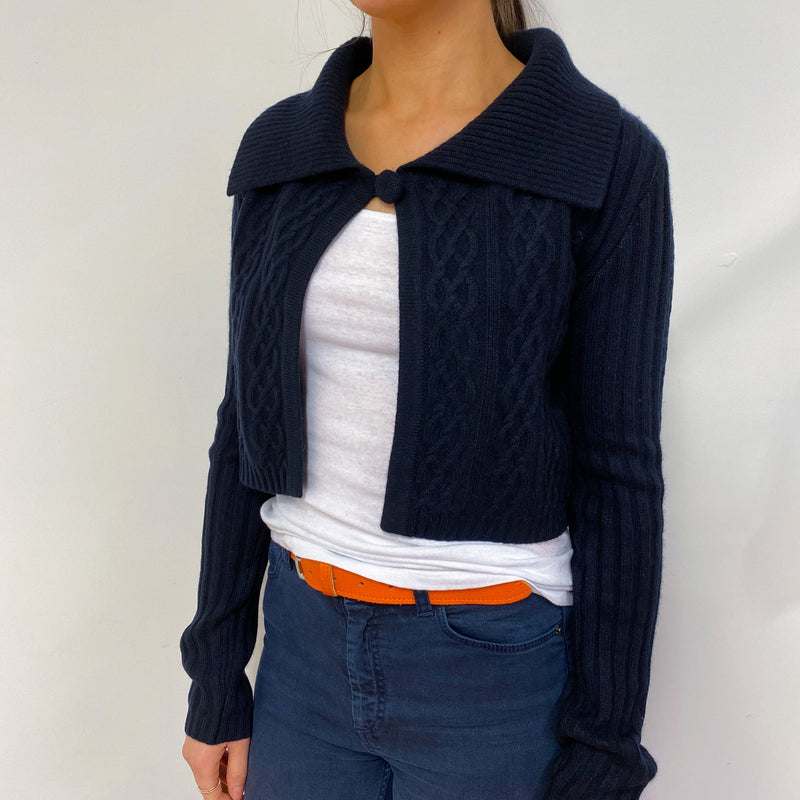 Navy One Button Collared Cardigan Small