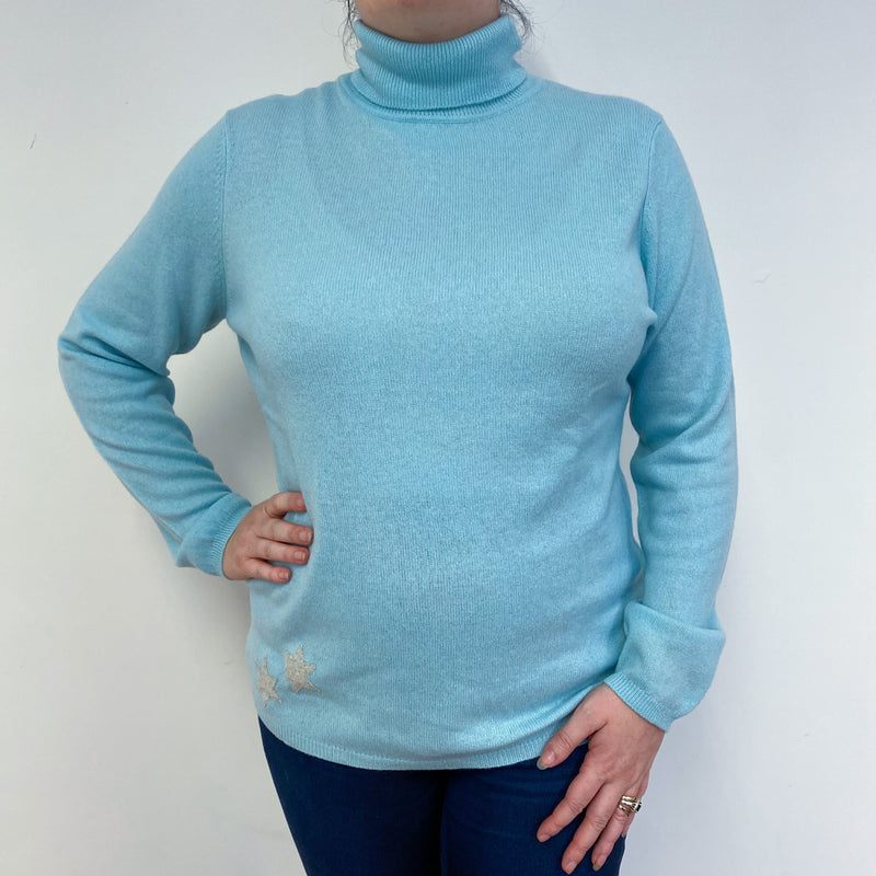 Pale Blue Polo Neck Jumper Detailed With Grey Stars Large