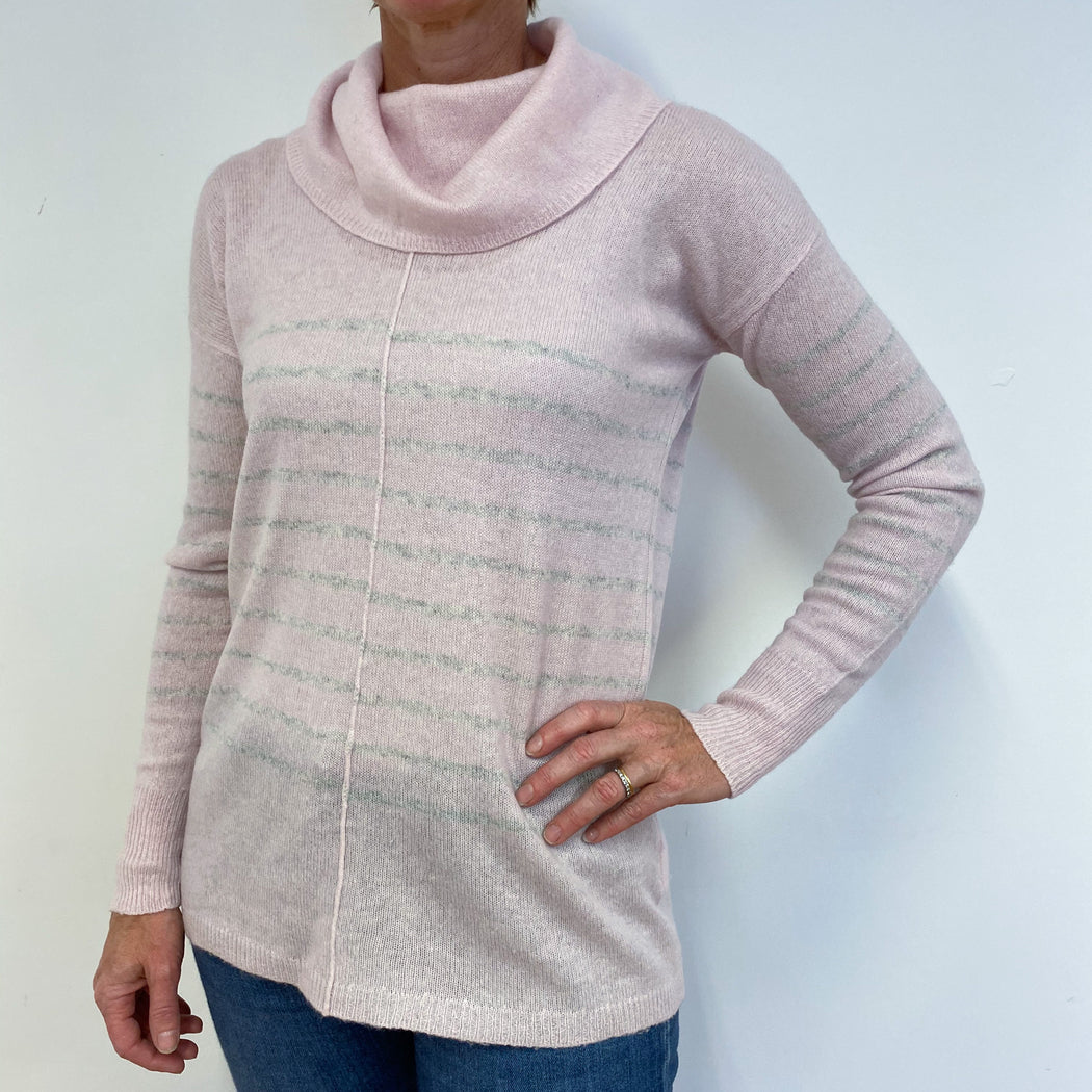 Baby Pink and Grey Striped Lightweight Cowl Neck Jumper Medium