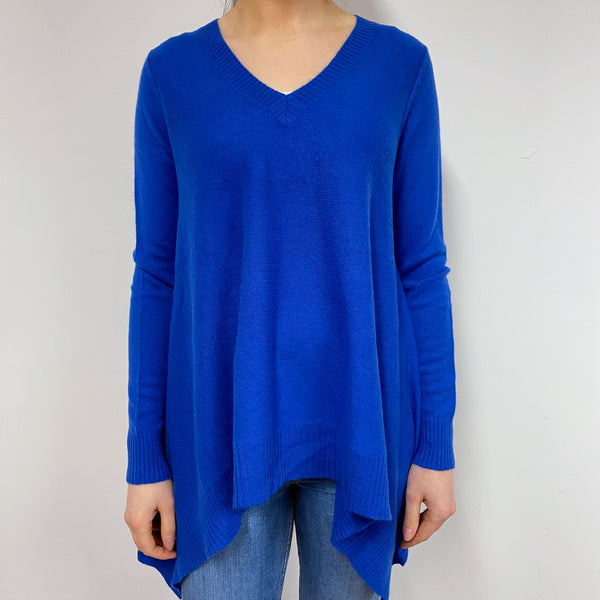 Cobalt Blue V Neck Tunic Style Jumper Small