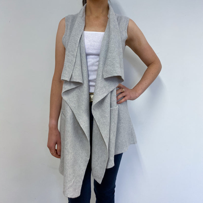 Dove Grey Waterfall Style Sleeveless Cardigan Small