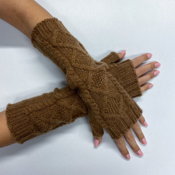 Brand New Long Nutmeg Brown Cable Knit Fingerless Gloves