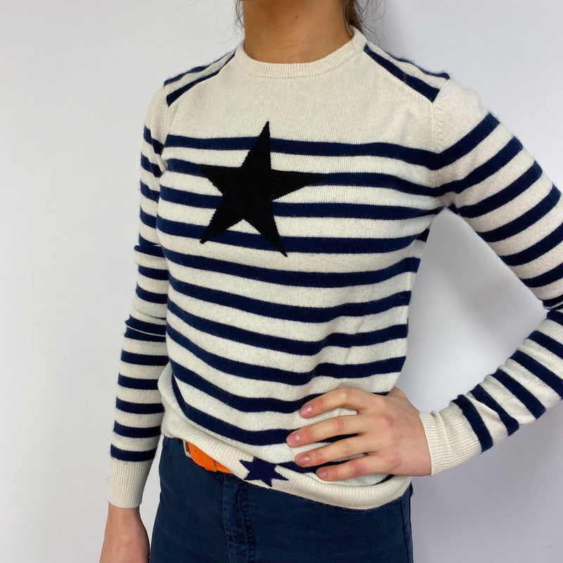 Cream and Navy Striped Crew Neck Jumper With Star Detailing Small