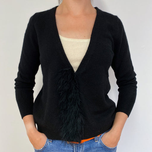 Fantastic Black Cardigan With a Faux Feather Detailing