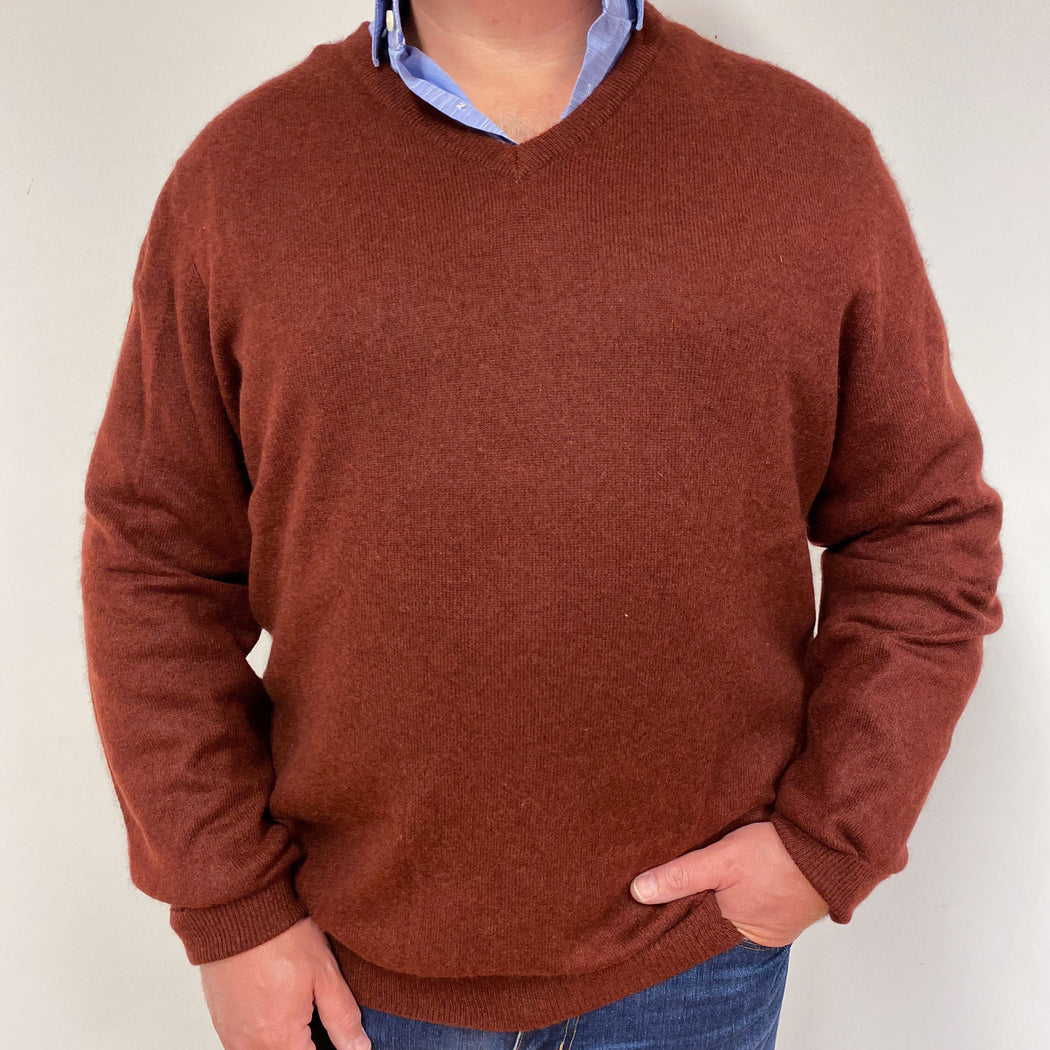 Men's Burnt Orange V Neck Jumper XXL