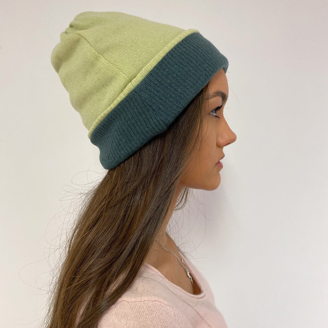 Reversible Dark and Pale Green Hat