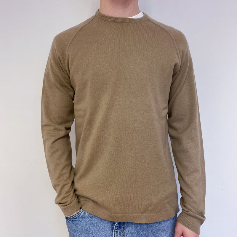 Men's Camel Crew Neck Jumper Medium