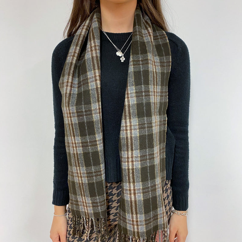 Brown Check Fringed Scarf