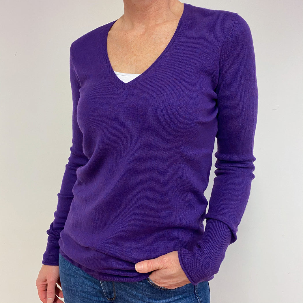 Violet Deep V Neck Jumper Medium