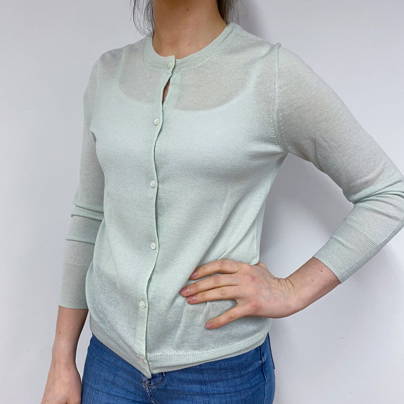 Light Weight Palest Green V-Neck Cardigan Small