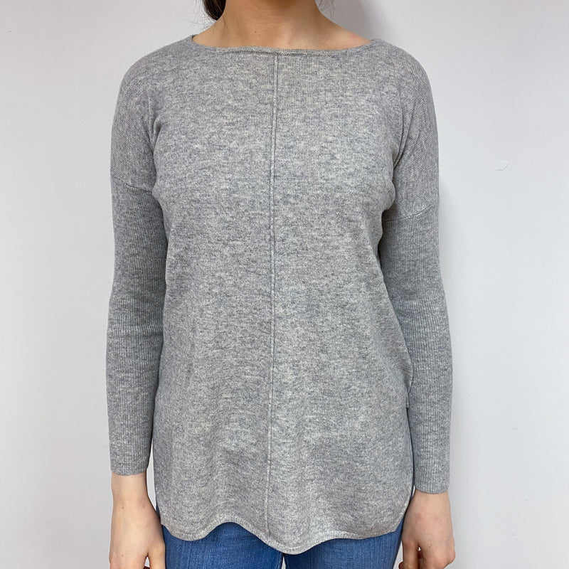 Pale Grey Crew Neck Tunic Style Jumper Small