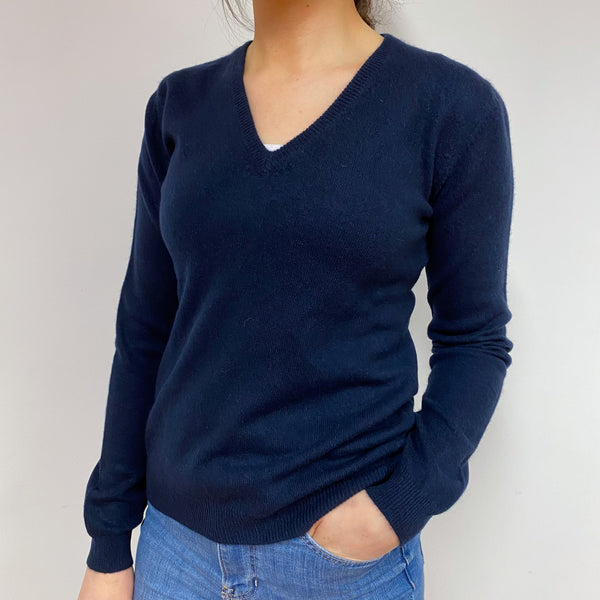 Classic Navy V Neck Jumper Small