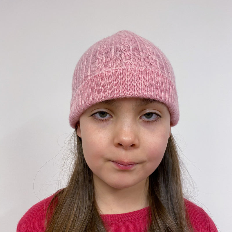 Children's Cable knit Hat Pink