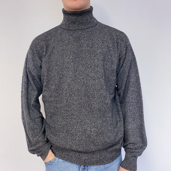 Men's Slate Grey Polo Neck Jumper Extra Large