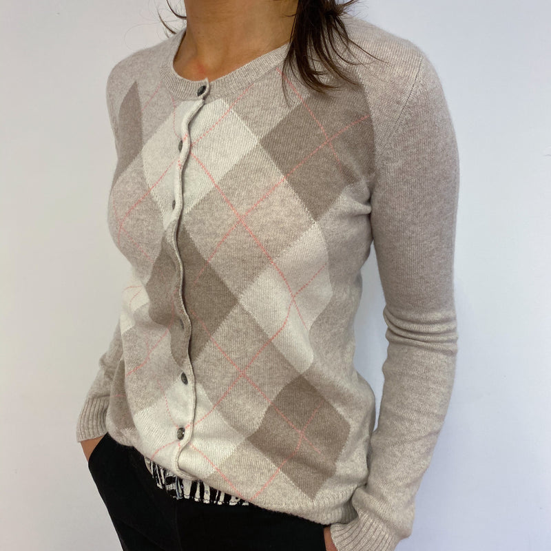 Pale Biscuit Diamond Crew Cardigan Small