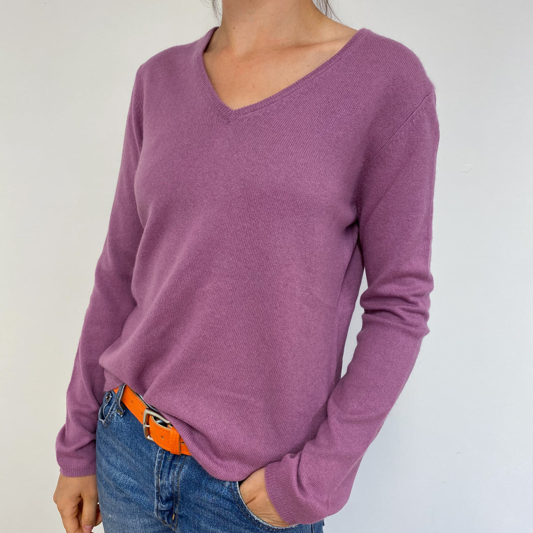 Dusky Pink/Purple V-Neck Jumper Medium