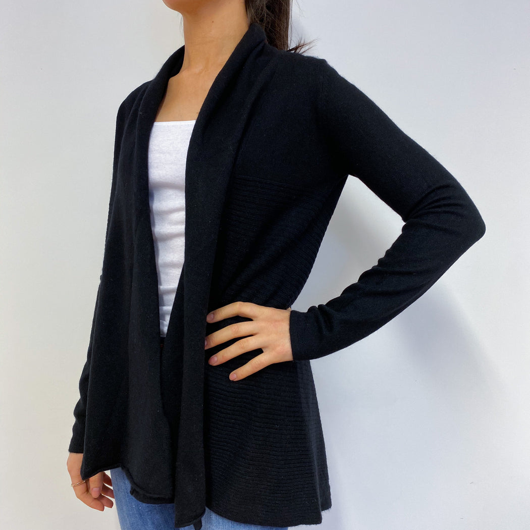 Black Waterfall Style Longline Cardigan Small