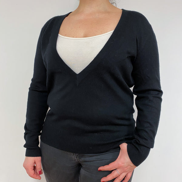 Black Deep V Neck Jumper Large