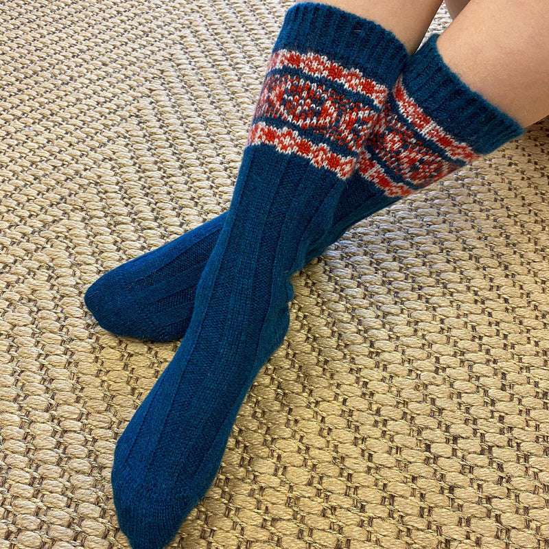 Teal and Red Patterned Cashmere Socks for Children