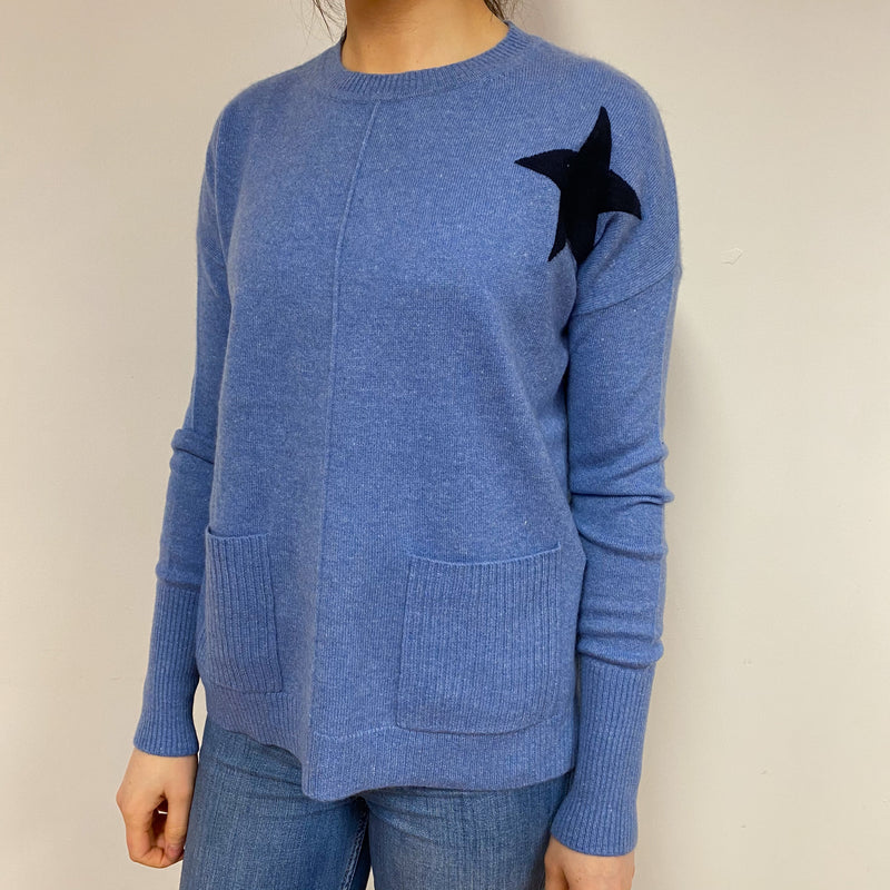 Cornflower Blue Star Slouchy Crew Neck Tunic Style Jumper Small