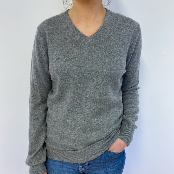 Ash Grey V Neck Jumper Small