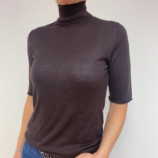 Superfine Chocolate Brown Polo Neck Jumper Medium