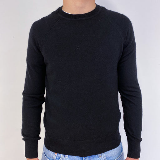 Men's Black Crew Neck Jumper Small