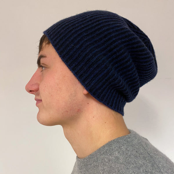 Men's Black and Blue Knit Beanie Hat