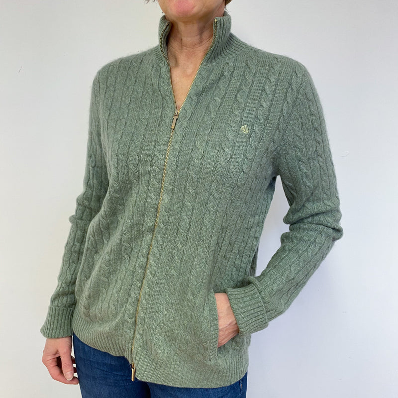 Dark Sage Cable Knit Zip Through Cardigan Medium
