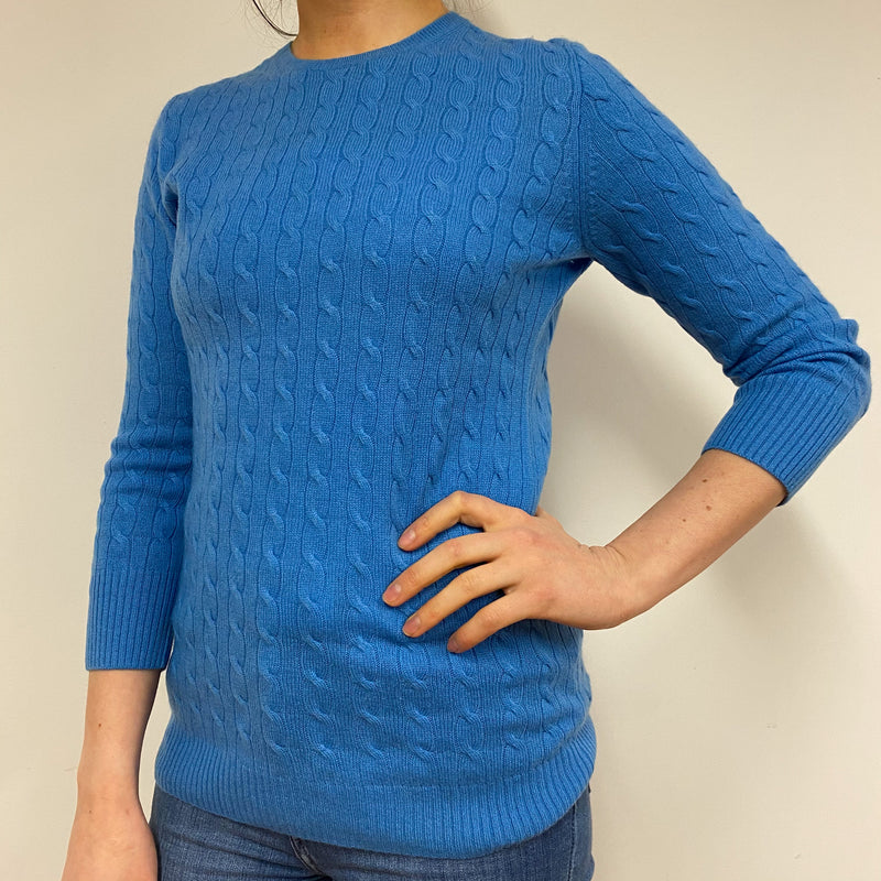 Azure Blue Cable Knit Crew Neck Jumper Small