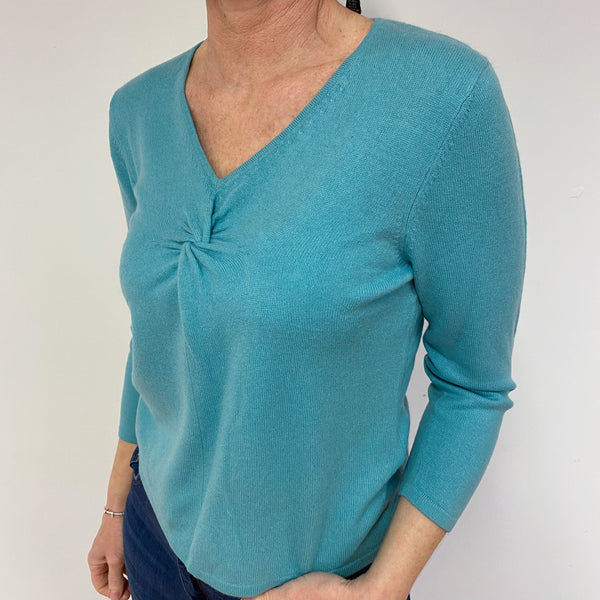 Sea Foam Green Twist V Neck Jumper Medium
