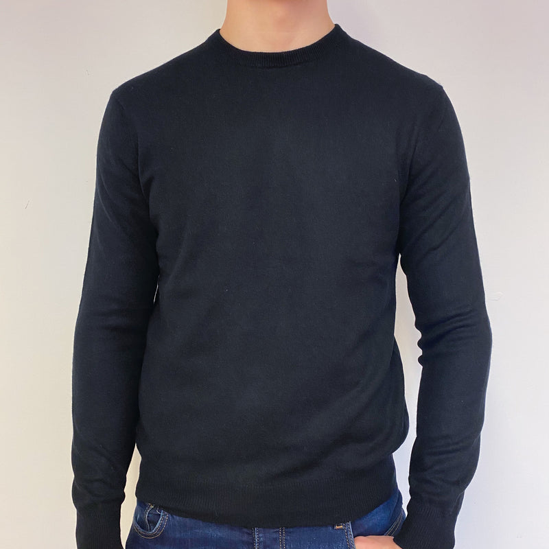 Men's Classic Black Crew Neck Jumper Medium