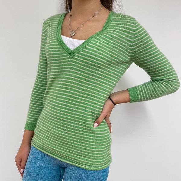 Striped Lime Green V-Neck Jumper Extra Small