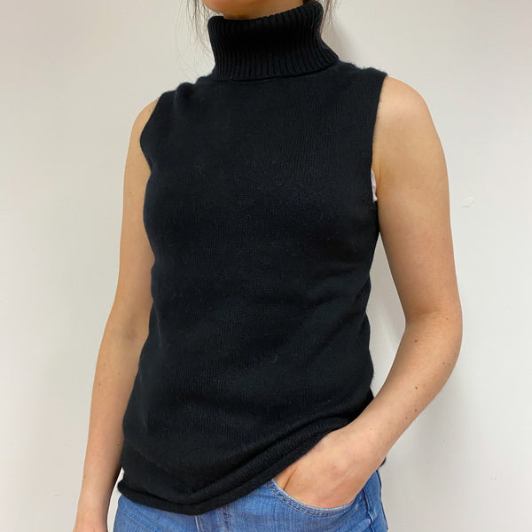 Heavy Knit Black Sleeveless Polo Neck Jumper Small