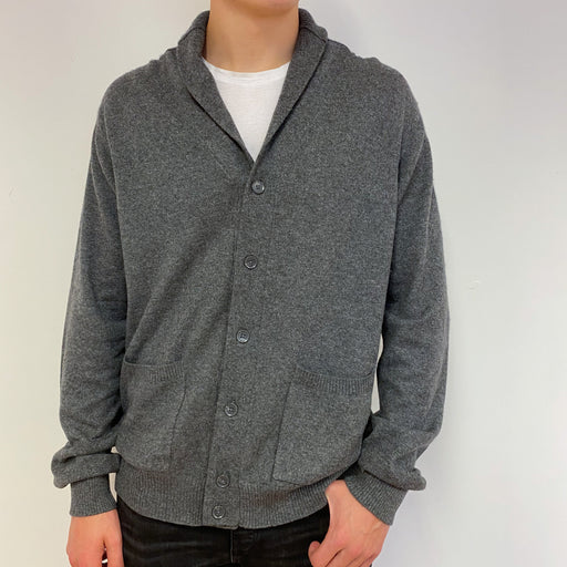 Men's Steel Grey Shawl Collared Cardigan Extra Large